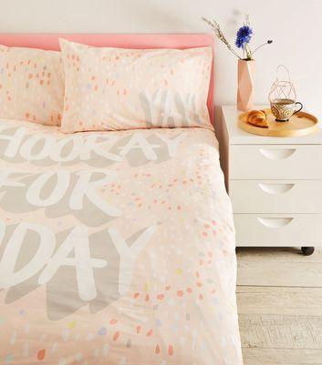 Pink Hooray Slogan Cotton Single Duvet Set