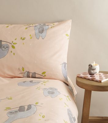 Pale Pink Sloth Cotton Single Duvet Set