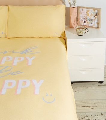Yellow Flecked Happy Slogan Cotton Single Duvet Set