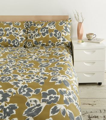 Khaki Floral and Spot Cotton Double Duvet Set