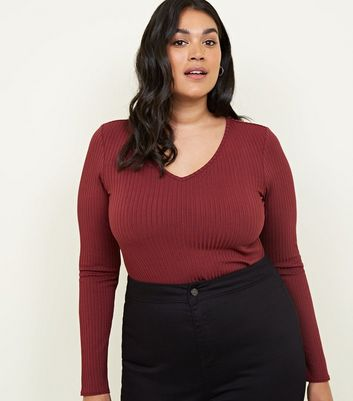 Curves Burgundy Ribbed V Neck Bodysuit
