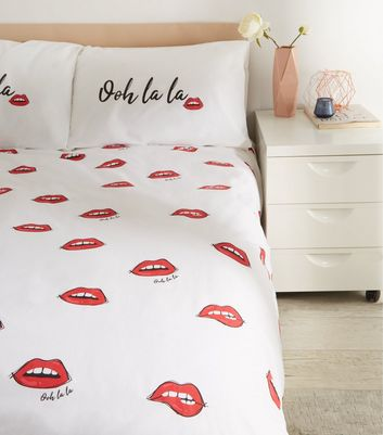 Red Ooh La La Lips Cotton Single Duvet Set