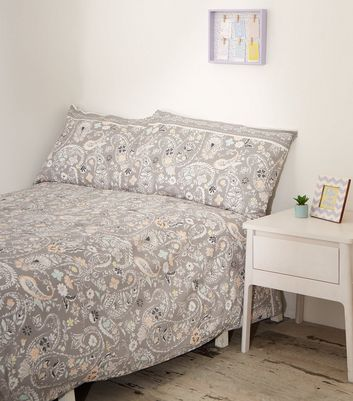 Light Purple Paisley Cotton Double Duvet Set