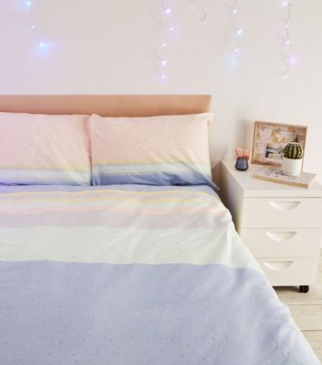 Multicoloured Flecked Stripe Cotton Double Duvet Set