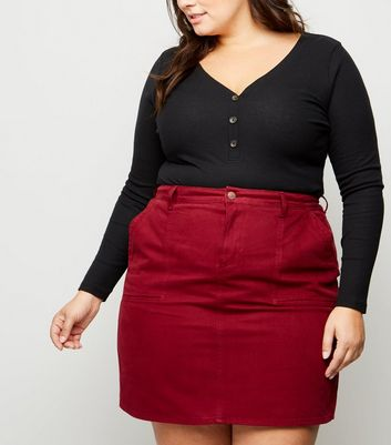Curves Burgundy Denim Utility Skirt
