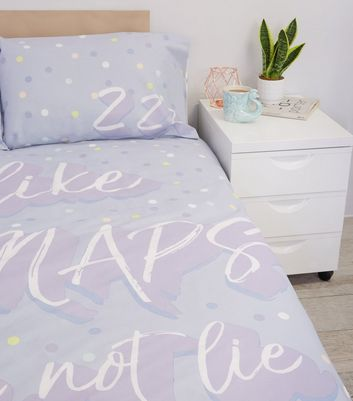 Lilac Big Naps Slogan Cotton Single Duvet Set