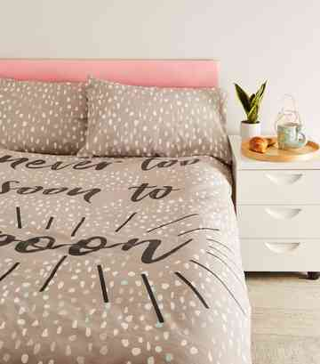 Dark Grey Spoon Slogan Cotton Double Duvet Set