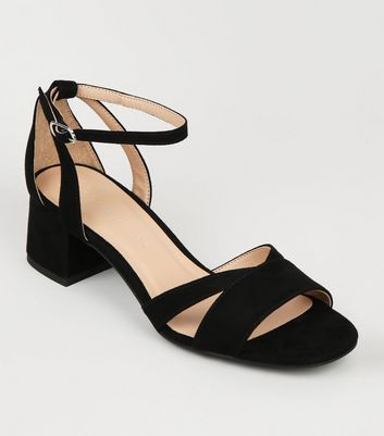 Girls Black Suedette Low Block Heeled Sandals