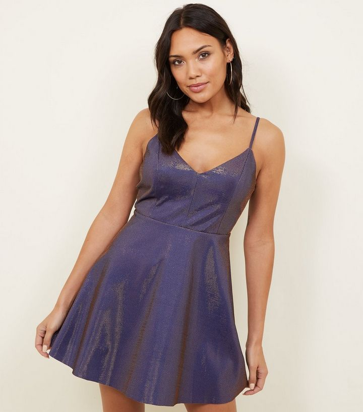 Cameo Rose Purple Metallic Skater Dress  5194daea6