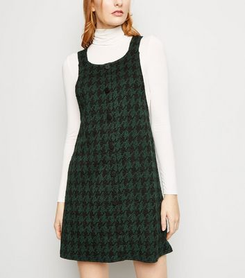 Green Houndstooth Button Front Pinafore Dress