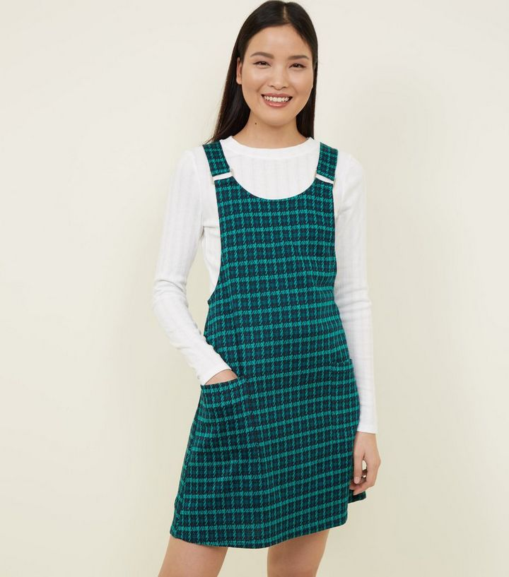 6c9bd077efa3 Green Check Metal Buckle Pinafore Dress | New Look