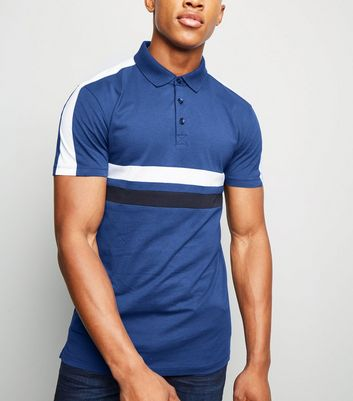 Bright Blue Colour Block Muscle Fit Polo Shirt