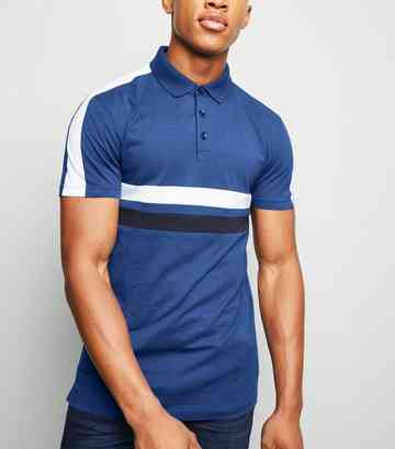 Polo Muscle Fit bleu vif design color block