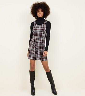Red Check Jersey Pinafore Dress