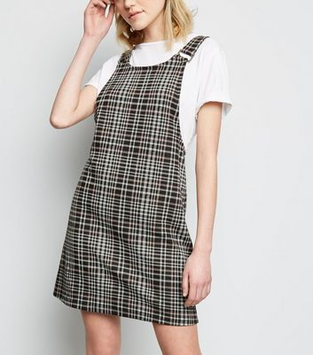 Pink Check Jersey Pinafore Dress
