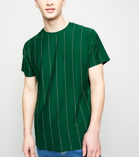 642c526a32416 ... Green and White Wide Vertical Stripe T-Shirt ...