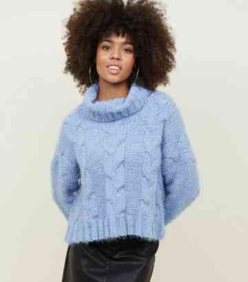 Pale Blue Chenille Cable Glittery Knit Jumper