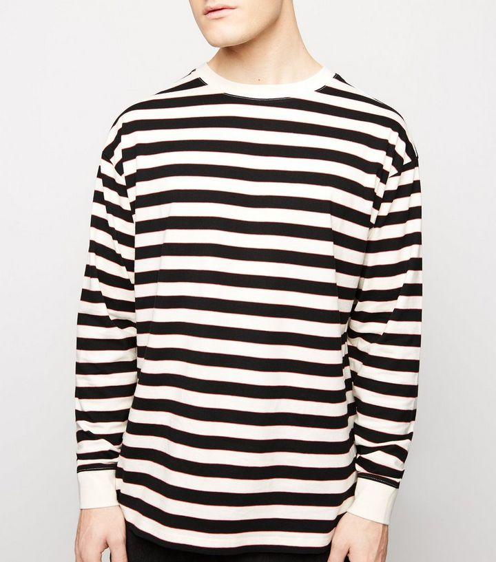 f431e9d9b33c5b Off White Stripe Long Sleeve T-Shirt | New Look