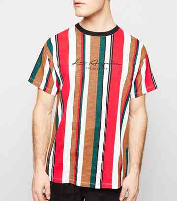 Red Vertical Stripe LA Embroidered T-Shirt