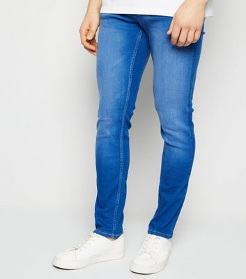 Bright Blue Mid Wash Skinny Stretch Jeans