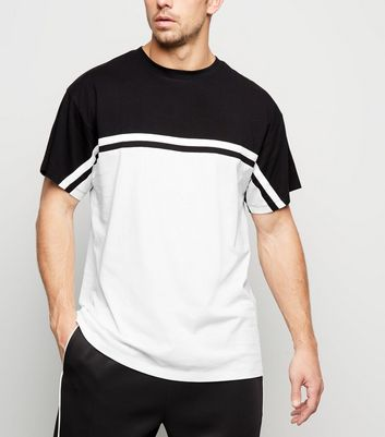 Black Colour Block Stripe T-Shirt