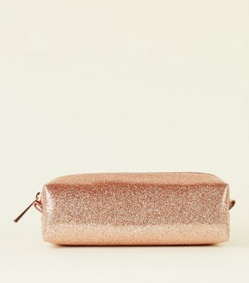 Rose Gold Glitter Pencil Case