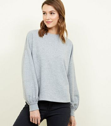 Grey Marl Balloon Sleeve Oversized Sweatshirt