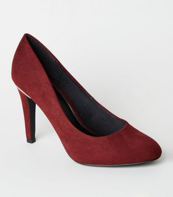 Wide Fit Burgundy Metal Trim Stiletto Courts
