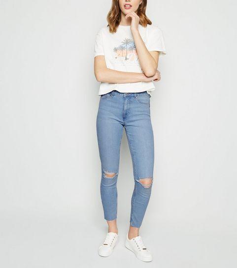 851b21afcbf ... Bright Blue Bleach Wash Ripped Jenna Jeans ...