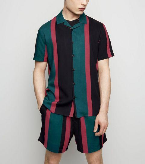 17b6a62ccd ... Teal Stripe Tie Waist Shorts ...