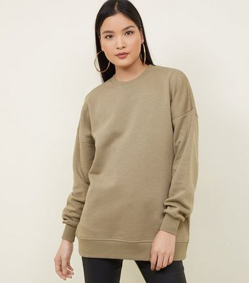 Langes Sweatshirt in Khaki