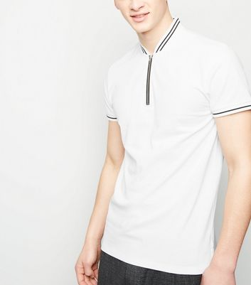 White Tipped Zip Pique Polo T-Shirt