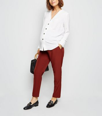 Maternity Rust Lightweight Over Bump Trousers