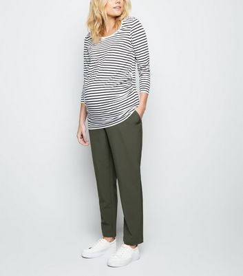 Maternity Khaki Lightweight Over Bump Trousers
