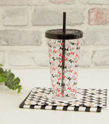 Black Minnie Mouse Print Cup and Straw