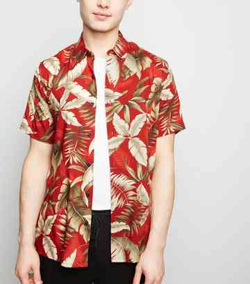 Red Leaf Print Revere Collar Shirt