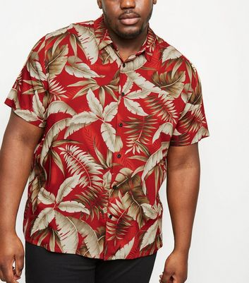 Plus Size Red Leaf Print Revere Collar Shirt