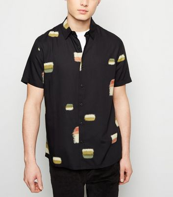 Black Painted Square Block Print Shirt