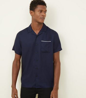 Navy Piped Short Sleeve Shirt