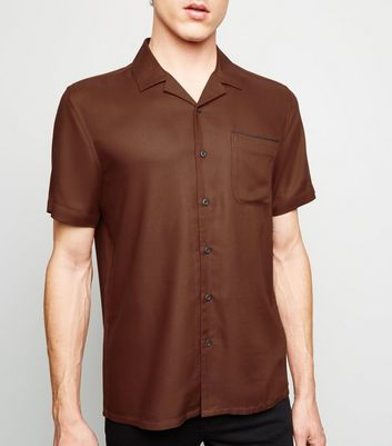 Brown Piped Short Sleeve Shirt