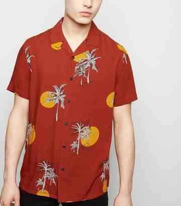 Rust Sun Palm Print Revere Collar Shirt