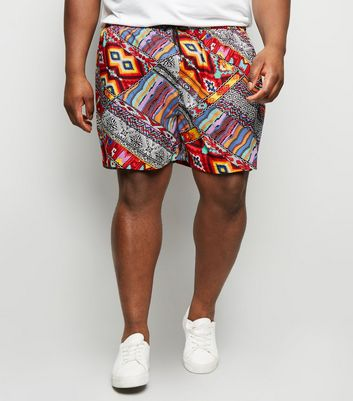 Plus Size Red Pattern Drawstring Waist Shorts