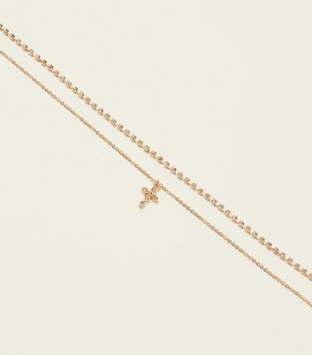 RE:BORN Gold Layered Crystal Cross Charm Choker