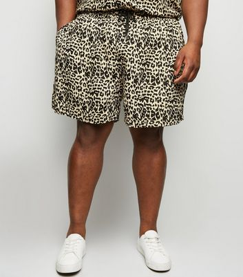Plus Size Off White Leopard Print Shorts