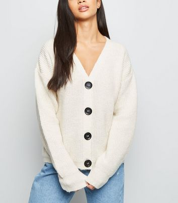 Petite Cream Fisherman Knit Button Up Cardigan