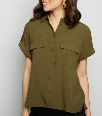 Olive Pocket Front Short Sleeve Shirt