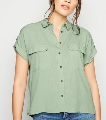 Mint Green Pocket Front Short Sleeve Shirt