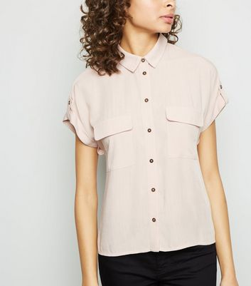 Pink Pocket Front Short Sleeve Shirt