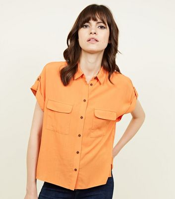Orange Pocket Front Short Sleeve Shirt