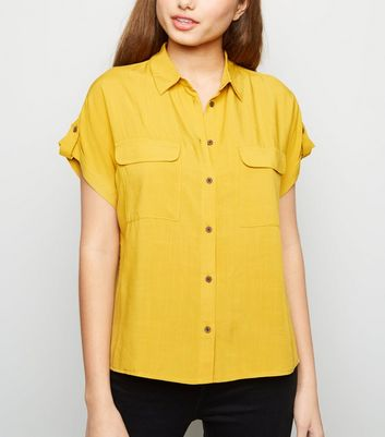 Yellow Pocket Front Short Sleeve Shirt